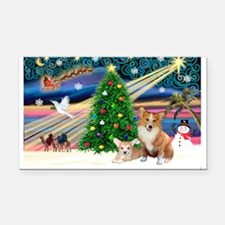 XmasMagic/2 Corgis (P3) Rectangle Car Magnet
