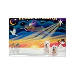 XmasSunrise/2 Westies Rectangle Magnet (10 pack)