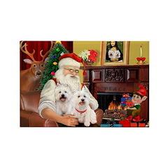 Santa's Westie pair Rectangle Magnet (10 pack)