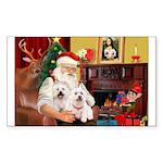 Santa's Westie pair Sticker (Rectangle 10 pk)