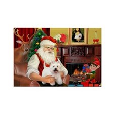 Santa's Westie Rectangle Magnet