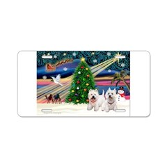Xmas Magic & 2 Westies Aluminum License Plate