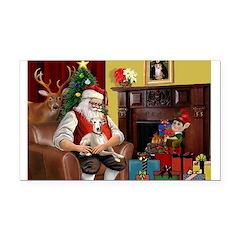 Santa's Whippet Rectangle Car Magnet