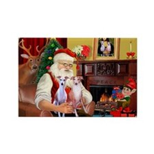 Santa & his 2 Whippets Rectangle Magnet (10 pack)