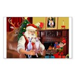 Santa & his 2 Whippets Sticker (Rectangle)