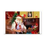 Santa & his 2 Whippets Rectangle Car Magnet