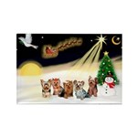 Night Flight/5 Yorkies Rectangle Magnet (10 pack)