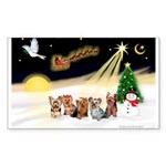 Night Flight/5 Yorkies Sticker (Rectangle 10 pk)