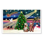 XmasMagic/2 Yorkies Sticker (Rectangle 50 pk)
