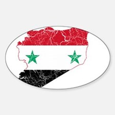 Syria Flag And Map Sticker (Oval 50 pk)
