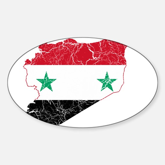 Syria Flag And Map Sticker (Oval)