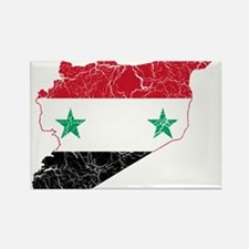 Syria Flag And Map Rectangle Magnet