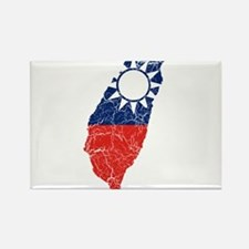 Taiwan Flag And Map Rectangle Magnet