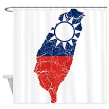 Taiwan Flag And Map Shower Curtain