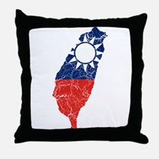 Taiwan Flag And Map Throw Pillow