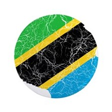 "Tanzania Flag And Map 3.5"" Button"