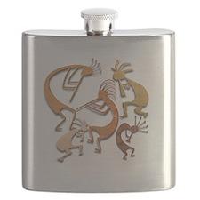 Five Wood Kokopelli Flask