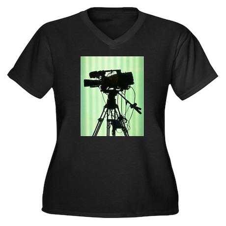 Camera! Women's Plus Size V-Neck Dark T-Shirt