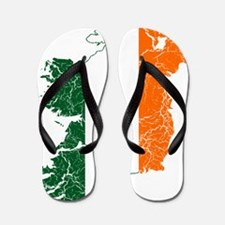 Ireland Flag And Map Flip Flops