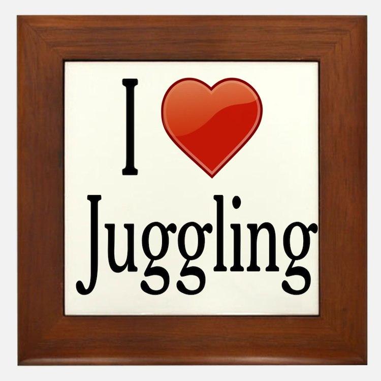 I Love Juggling Framed Tile