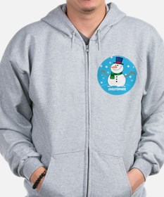 Cute Personalized Snowman Xmas gift Zip Hoodie