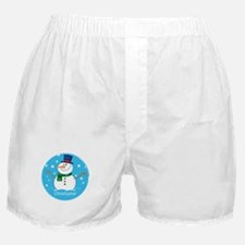 Cute Personalized Snowman Xmas gift Boxer Shorts