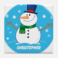 Cute Personalized Snowman Xmas gift Tile Coaster