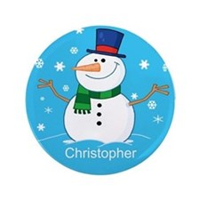 """Cute Personalized Snowman Xmas gift 3.5"""" Button (1"""