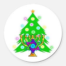 Hanukkah and Christmas Families Round Car Magnet