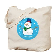 Cute Personalized Snowman Xmas gift Tote Bag
