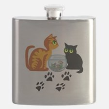 KIttys At Play Flask
