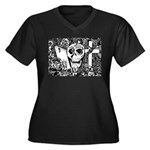 Gothic Skull Art Women's Plus Size V-Neck Dark T-S