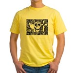 Gothic Skull Art Yellow T-Shirt