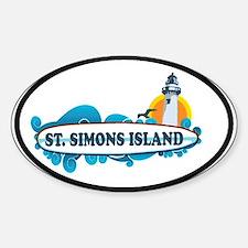 St. Simons Island - Oval Design. Decal