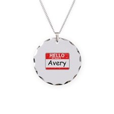 Hello My name is Avery Necklace Circle Charm
