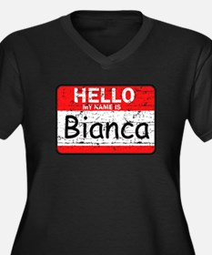 Hello My name is Bianca Women's Plus Size V-Neck D