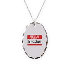 Hello My name is Braden Necklace Oval Charm