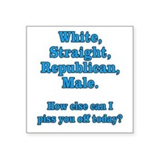 "White Straight Republican Male Square Sticker 3"" x"