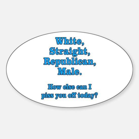 White Straight Republican Male Sticker (Oval)