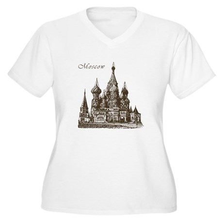 Retro Moscow Women's Plus Size V-Neck T-Shirt