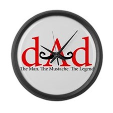 Red Dad Curly Mustache Large Wall Clock