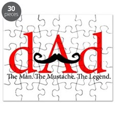 Red Dad Curly Mustache Puzzle