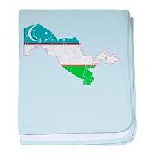 Uzbekistan Flag And Map baby blanket