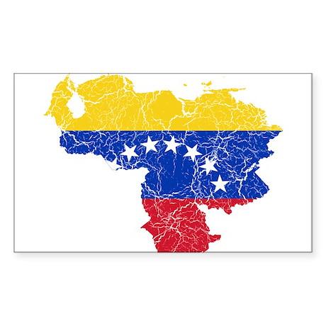 Venezuela Flag And Map Sticker (Rectangle)