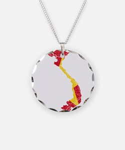 Vietnam Flag And Map Necklace