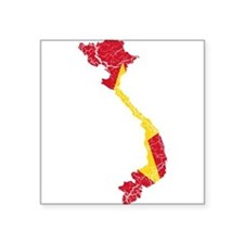 """Vietnam Flag And Map Square Sticker 3"""" x 3"""""""