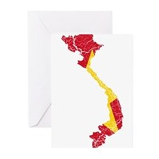 Vietnam Flag And Map Greeting Cards (Pk of 10)