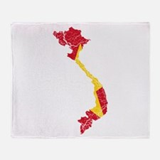 Vietnam Flag And Map Throw Blanket