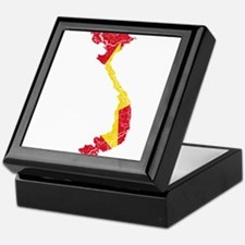 Vietnam Flag And Map Keepsake Box