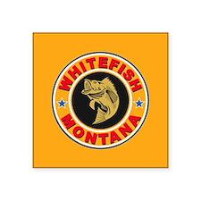 """Whitefish Gold Circle Square Sticker 3"""" x 3"""""""